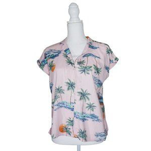 Tropical Shirt with Palm Trees and Orange Sunsets